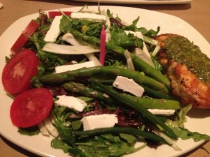Bonefish Grill grilled salmon and asparagus salad - yes I traveled with my pink candle! ;)