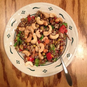 stir fried veggie quinoa (cooked in coconut oil w/ coconut aminos instead of soy sauce) topped with cashews