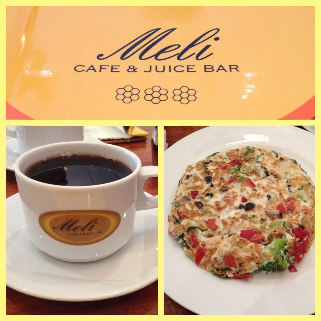Brunch with Amanda & Becky at Meli Cafe was an egg white veggie scramble with coffee