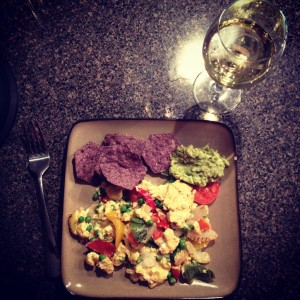 veggie egg scramble w/ chips & guac - plus a well deserved glass of wine!