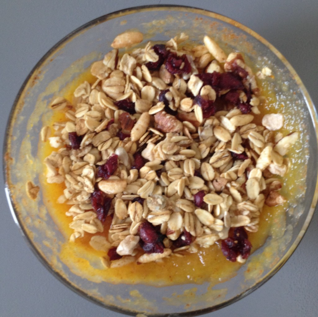 Okay so this was just a snack but it was delicious - applesauce, pumpkin, almond butter + granola!