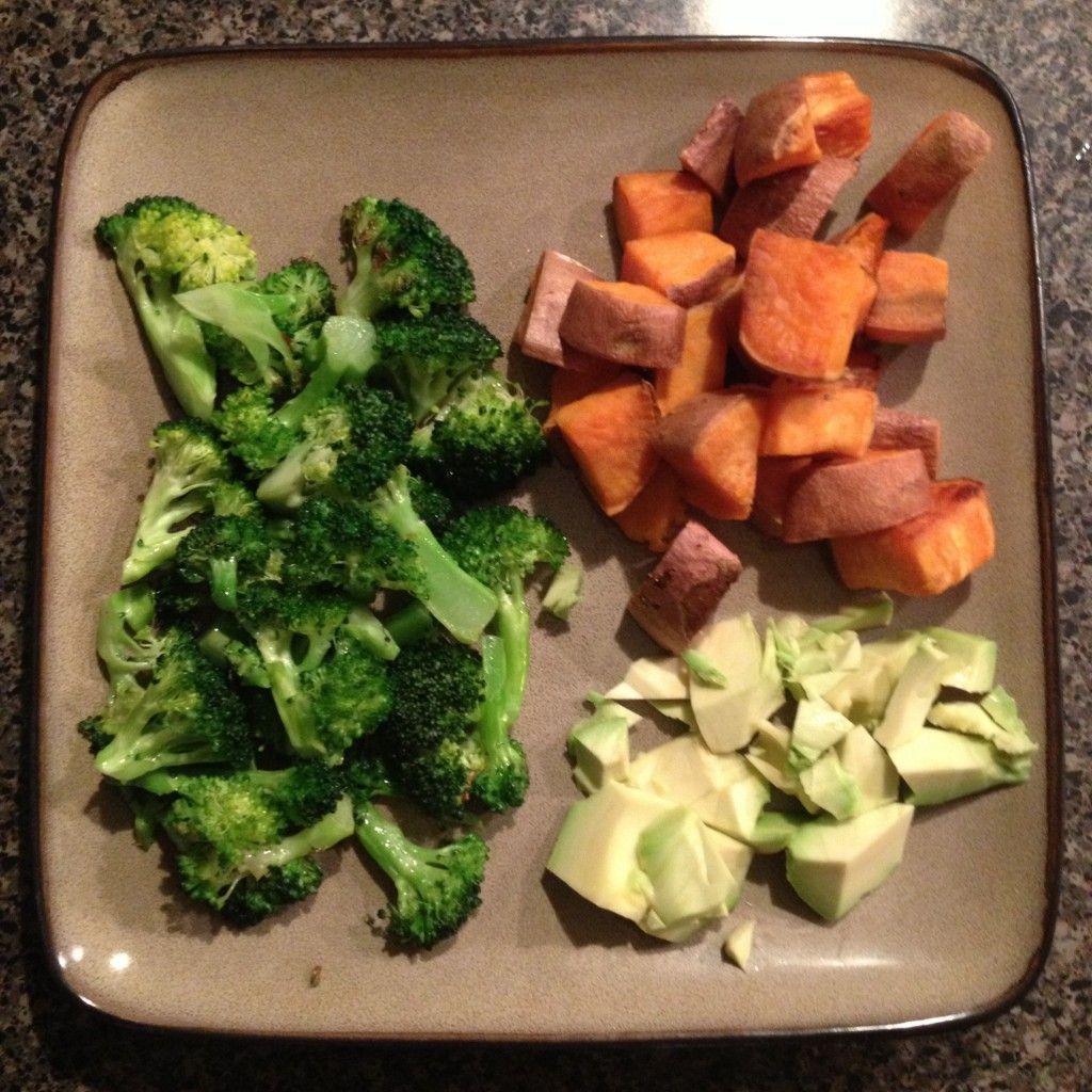Such an easy, simple but delicious dinner! Broccoli sautéed in coconut oil, roasted sweet potatoes and avocado