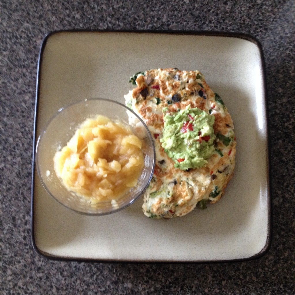 Leftover egg scramble with homemade applesauce