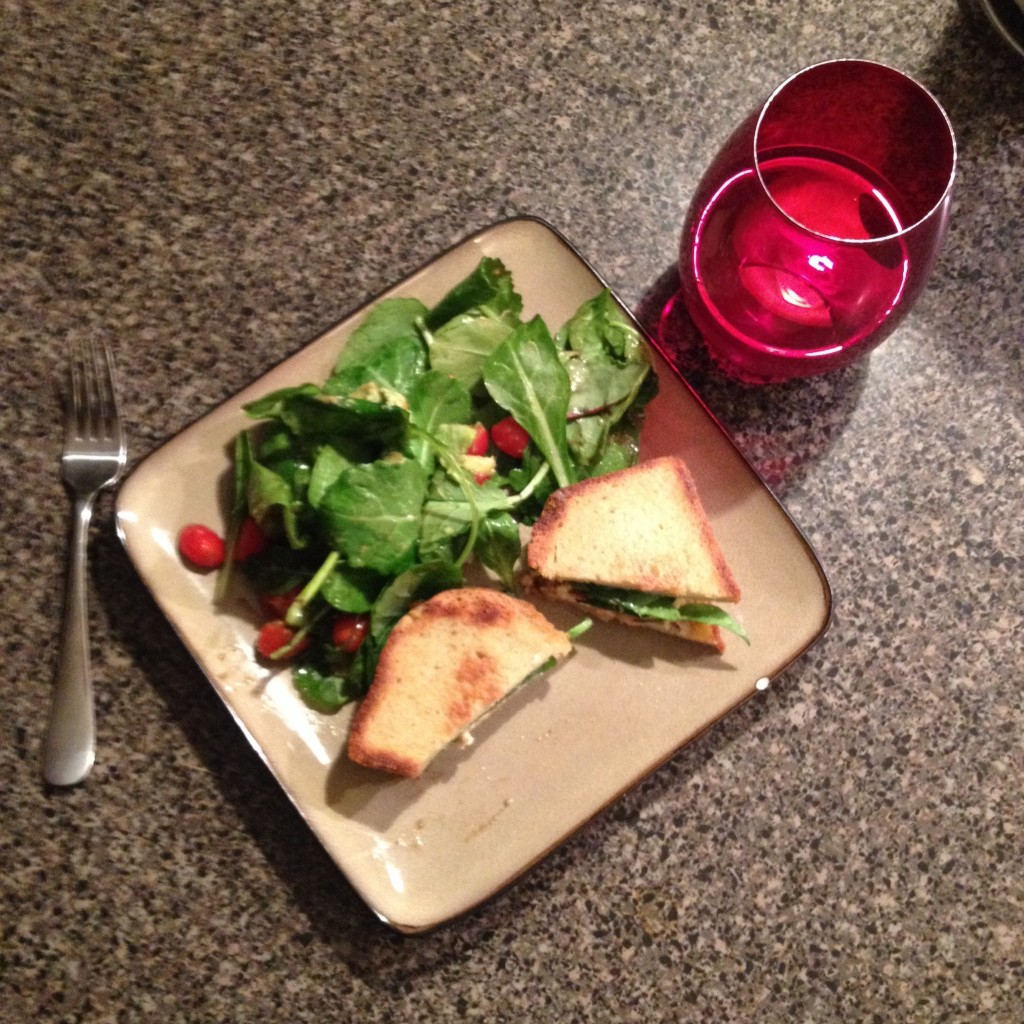 Is this better? Salad + grilled cheese made with Trader Joe's apple cinnamon goat cheese - holy deliciousness!