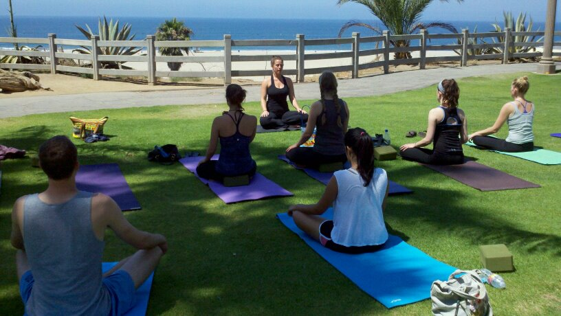 From one of the Wednesday classes that ended up outside overlooking the ocean…do you spot me?