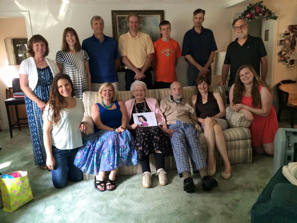 A group of the family gathered for Grandma's 90th birthday party