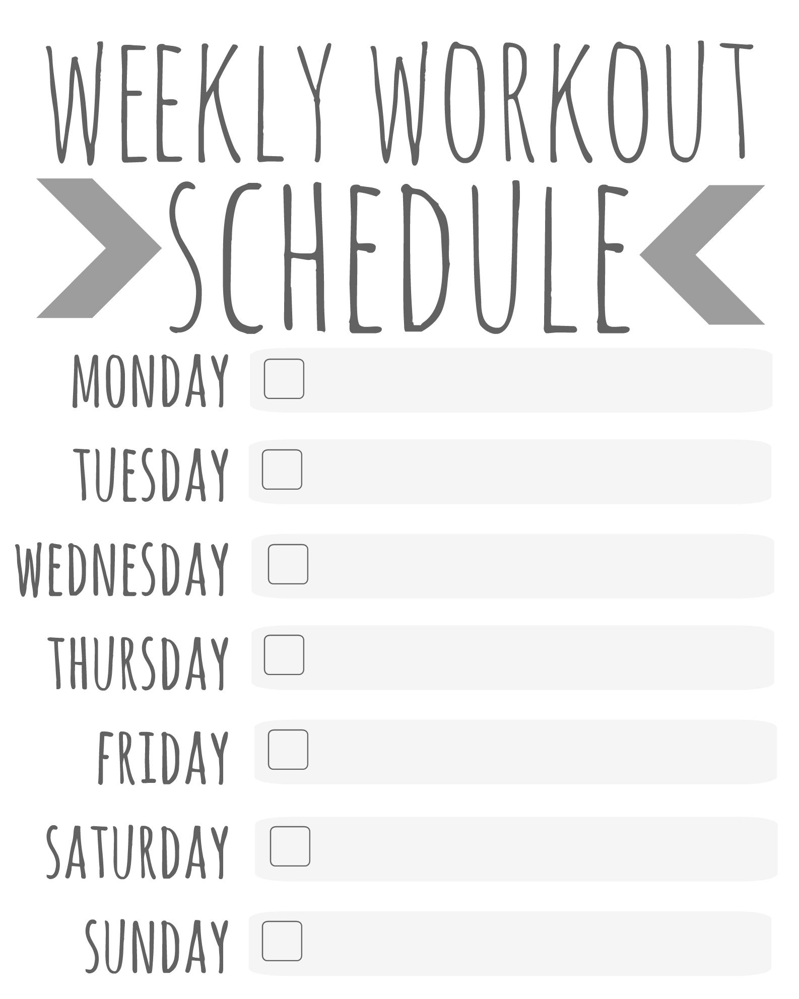 Weekly Workout Schedule - Printable - Talk Less, Say More