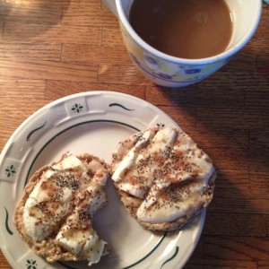English muffin with Maranatha peanut butter (I got it on sale and w/ a coupon - SCORE!) with coffee, of course!