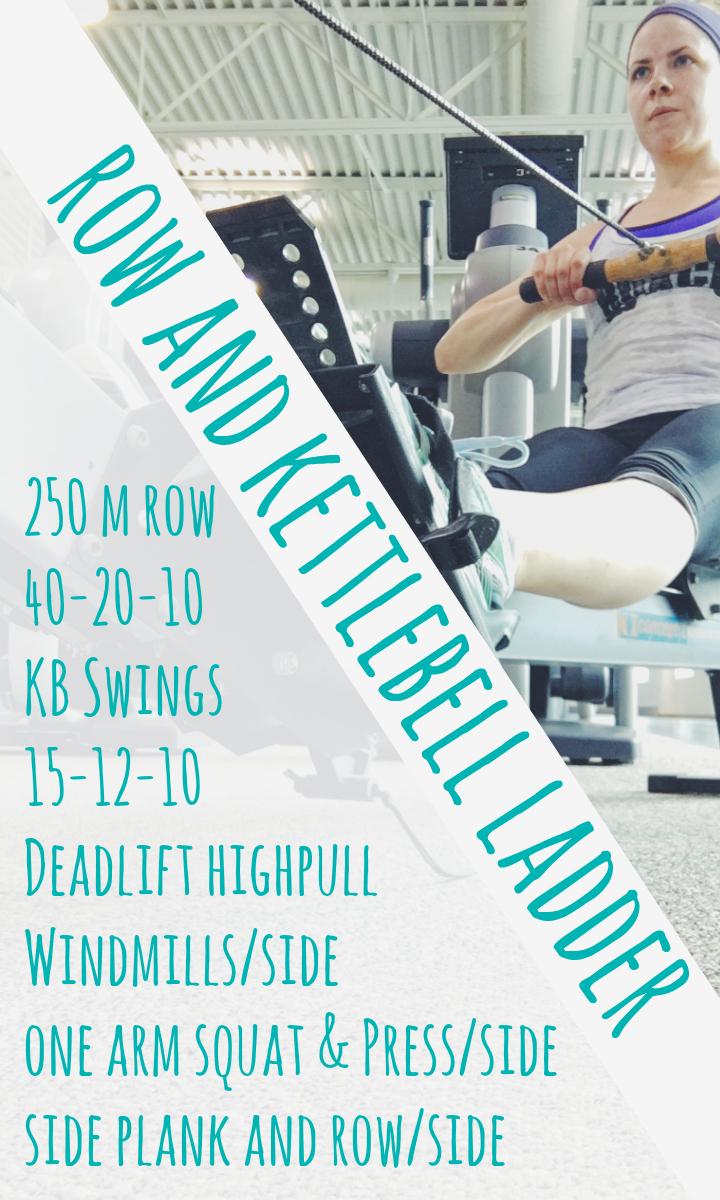 row KB ladder workout